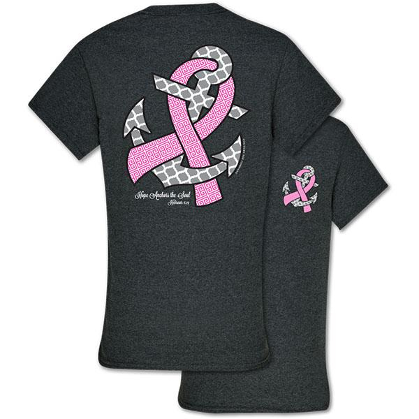 Image of Southern Couture Hope Anchors Breast Cancer Pink Ribbon Awareness Girlie Bright T Shirt