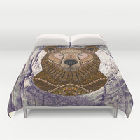 Ornate Brown Bear Duvet Cover by ArtLovePassion