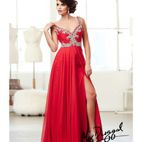 (PRE-ORDER) Mac Duggal 2014 Prom Dresses - Red Chiffon A-Line Sweetheart Prom Gown