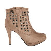 XTI Stud Heeled Ankle Boots - Ant taupe