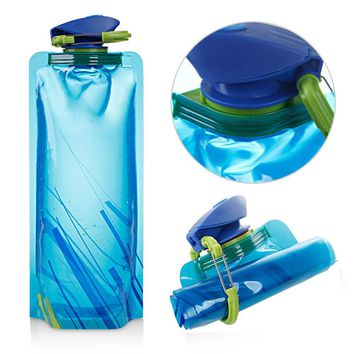High quality Portable Foldable Drinking Water Bottle Bag Pouch Outdoor cycling  Hiking Camping Water Bag PE Blue 500ml-700ml HOT