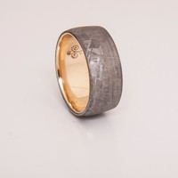 meteorite wedding band with 18k gold ring wedding ring men size