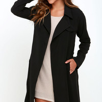 Astaire-ing Off Into Space Black Trench Coat