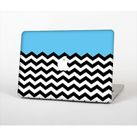 The Solid Blue with Black & White Chevron Pattern Skin Set for the Apple MacBook Air 11""