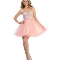 Blush & Nude Sweetheart Embellished Bodice Corset Dress 2015 Prom Dresses