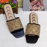 GG stitching color printing letters ladies casual sandals slippers Shoes Black