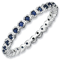 Stackable Expressions™ Prong-Set Lab-Created Blue Sapphire Eternity Style Ring in Sterling Silver