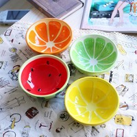 4 pcs/lot Ceramic Bowl,Beautiful Fruits Print Food Container,Salad Bowl,Baby Love Cute Cups,Fruit Bowl Dishes,Kitchen Bowls Rice
