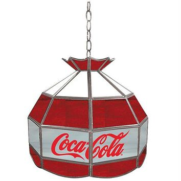 Coca Cola Vintage 16 inch Glass Lamp - Red White & Gray