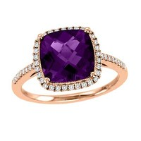 9.0mm Cushion-Cut Amethyst and 1/4 CT. T.W. Diamond Ring in 14K Rose Gold