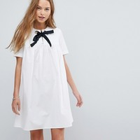 ASOS Smock Dress with Eyelet Detail and Grosgrain Tie at asos.com