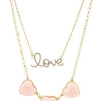 Pave Heart & Love Layered Necklace by Charlotte Russe - Lt Pink