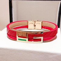 GUCCI New Popular Women Men Personality Leather High End Couple Stainless Steel Bracelet Red I-KMG-NPSL