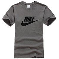 NIKE Popular Women Men Casual Print Round Collar T-Shirt Top Grey
