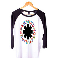 Red Hot Chili Peppers Short Sleeve Raglan - White Red - White Blue - White Black XS, S, M, L, XL, AND 2XL*AD*
