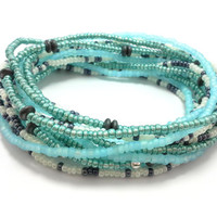 Seed bead wrap stretch bracelets, stacking, beaded, boho anklet, bohemian, stretchy stackable multi strand, blue green white black hematite
