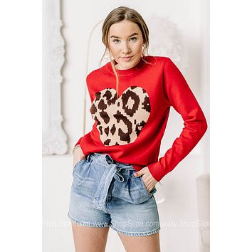 Have A Big Heart Cheetah Printed Heart Sweater