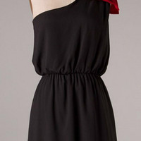 Top it off with a Bow One Shouldered Dress - Black and Red