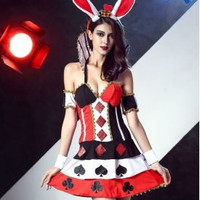 Contrast Color Poker Print Cosplay Party Costume