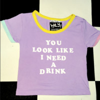 SWEET LORD O'MIGHTY! YOU LOOK LIKE I NEED A DRINK RINGER TEE IN PURPLE