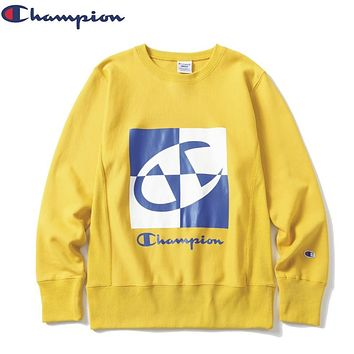 Champion New fashion letter logo print couple long sleeve top sweater Yellow