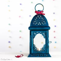 Peacock Color - Wedding Home Party Decor - Emerald Painted Glass Metal Lantern - Candle Holder
