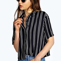 Ivy Striped Short Sleeve Boxy Shirt