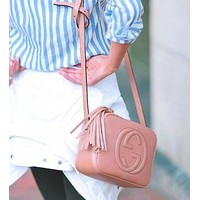 Gucci Popular Women Shopping Leather Tassel Shoulder Bag Crossbody Satchel