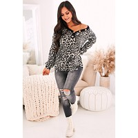 Spot To Trot Leopard Print Top (Grey)