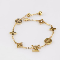 LV four-leaf clover vacuum plated rose gold bracelet