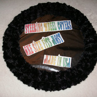 Fuzzy soft black rosebud swirls steering wheel cover