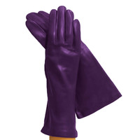 Violet 4-Inch Italian Leather Gloves, Lined in Silk.