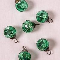 Luna Bazaar Mini Mercury Glass Ornaments (Pearl Design, 1-Inch, Vintage Green, Set of 6) - Vintage-Style Decorations