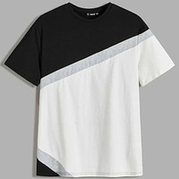 Fashion Casual Men Neon Panel Cut-and-sew Tee