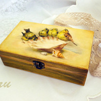 Cash box  Box for money Box with birds  Rustic jewelry box  Yellow  Wooden box  Birds decor  Wedding gift  Gift  shell