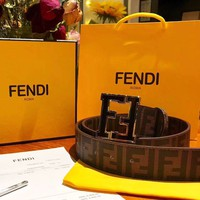 Fendi Tide brand simple double F letter retro smooth buckle belt