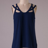 Great Gatsby Strappy Sleeveless Blouse - Navy Blue