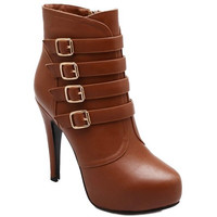 Brown High Heel Boots With Buckle
