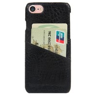 CROC PHONE CASE WITH CARD HOLDER BLACK