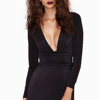 Black Bodycon V Shirred Waist Mini Dress