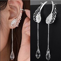 Crystal Jewelry Earrings Piercing Drop Ear Clips For Women Long Earrings Cuff Earring Jewellery Clip On Earrings Woman Earcuff