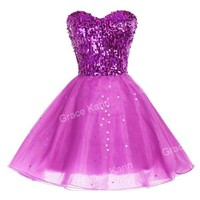 GK Stunning Sequin Short Mini Bridesmaid Prom Party Homecoming Dresses Ball Gown