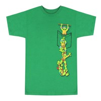TMNT Brothers Coming Out Of Pocket Graphic Printed Men's Casual T-shirt, Green