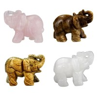 2 inch Elephant Figurines Craft Carved Natural Stone Elephant Figurine Jade Mini Animals Statue for Home Decor Chakra Healing