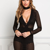 Black Mesh Stripe Plunge Bodycon Dress
