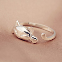 925 sterling silver cute cat opening ring ,silver cute cat ring,personalized fashion ring ,a perfect gift