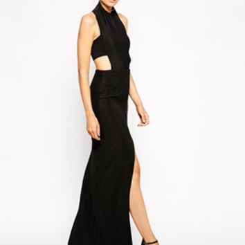 Solace London Aya Maxi Dress With Thigh Split and Cut Out Back
