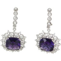 Amethyst Diamond Vintage Drop Cocktail Earrings 14 Karat White Gold Estate Jewelry