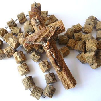 Earthy Big Rosary in Cork Wood and Brass to Hang in Wall - Vintage Wall Hanging