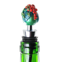 Hand Sculpted Grapes, Bottle Stopper, Green, Red Grapes, Green, Wine Bottle Stopper, Unique Bottle Stopper, Handmade Bottle Stopper